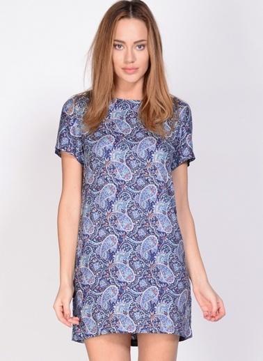 Fashion Desenli Mini Elbise Renkli